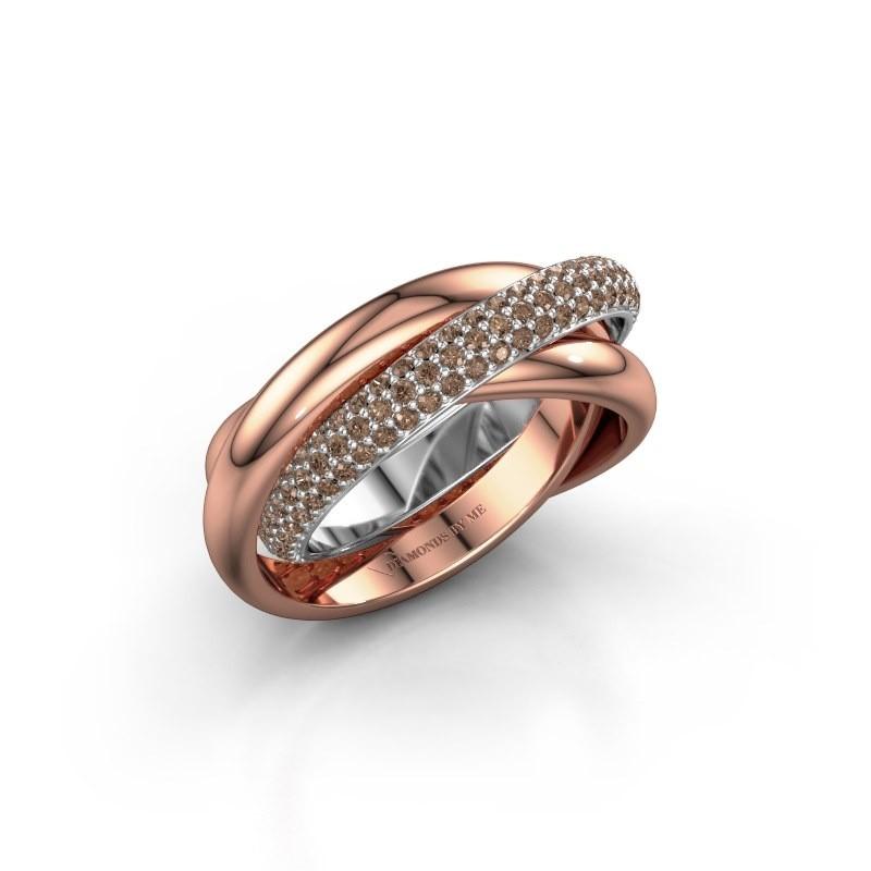 Ring Trinity 2 585 witgoud bruine diamant 0.885 crt
