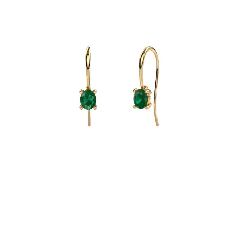 Oorhangers Cleo 585 goud smaragd 6x4 mm