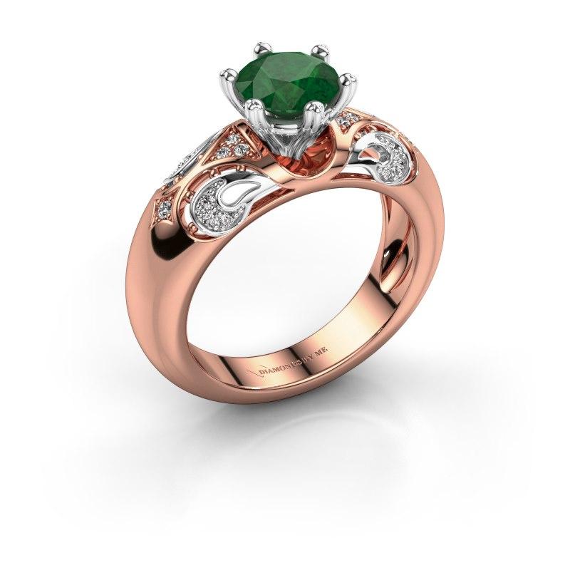 Ring Maya 585 rosé goud smaragd 6.5 mm