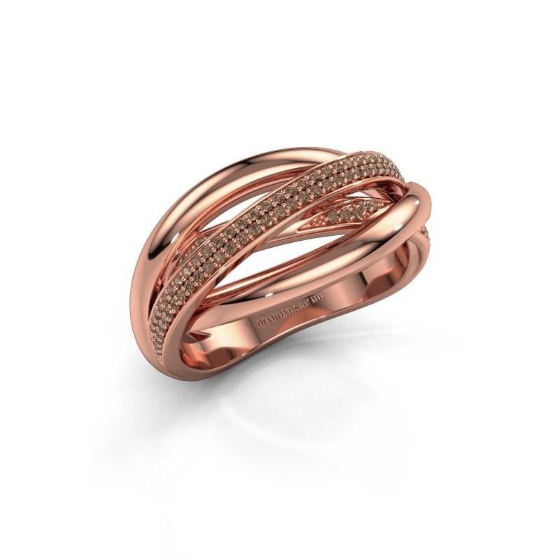 Ring Candice 375 rosé goud bruine diamant 0.24 crt