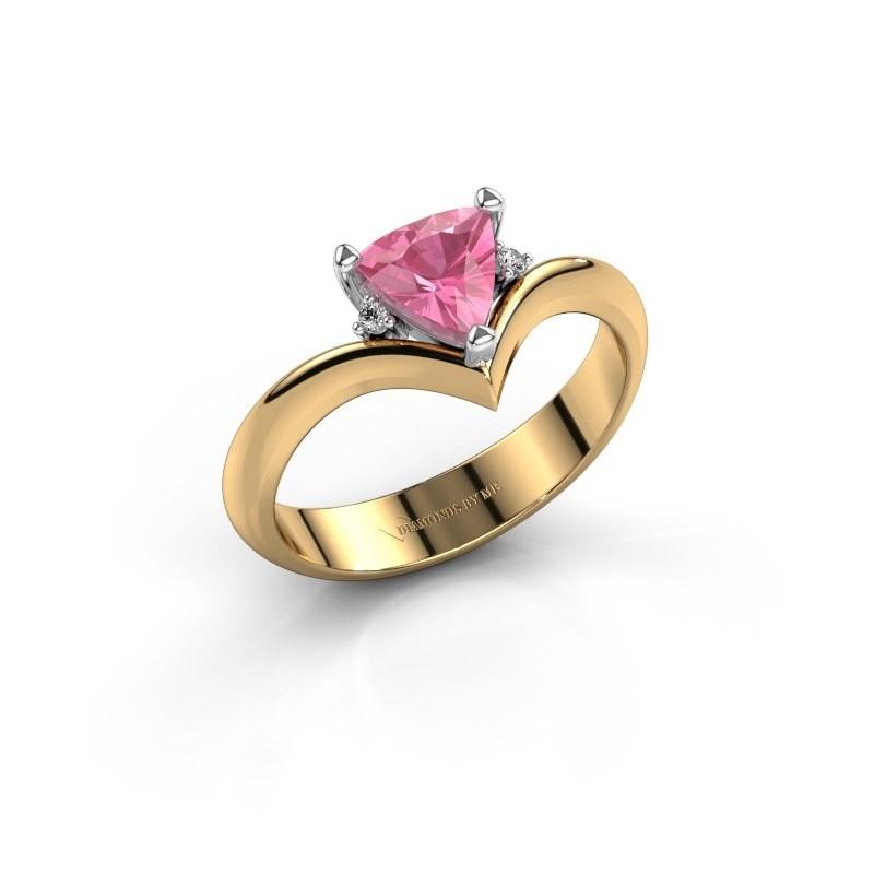 Ring Arlette 585 goud roze saffier 7 mm