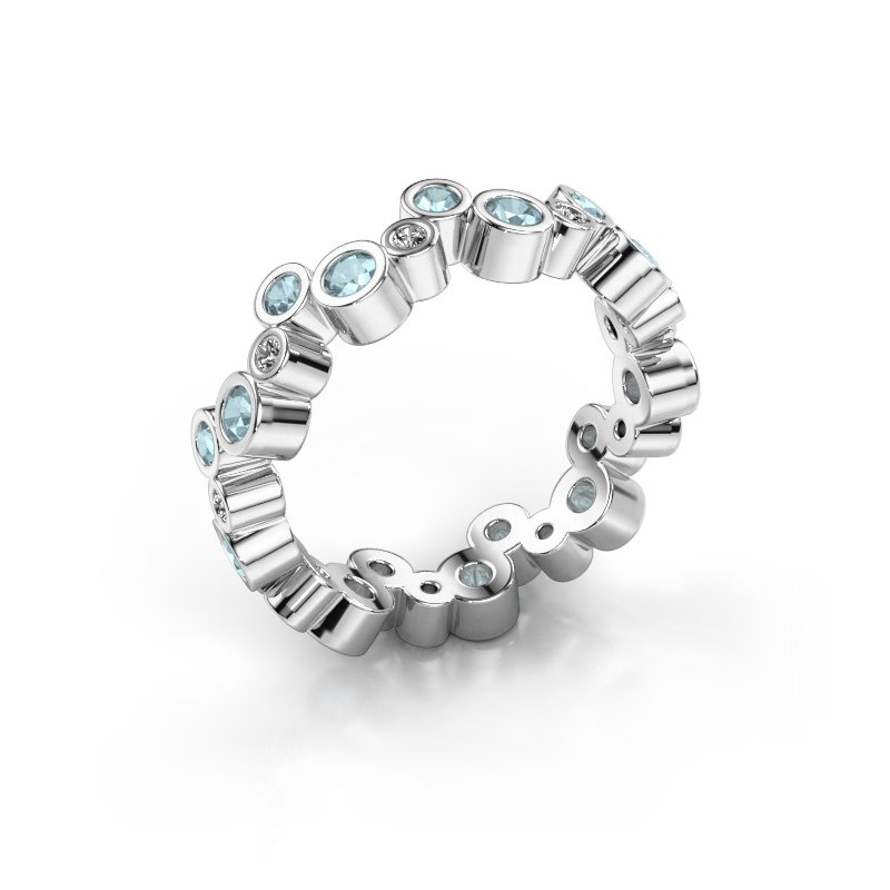 Ring Tessa 585 witgoud aquamarijn 2.5 mm