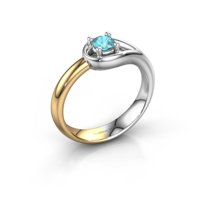 Ring Fabienne 585 white gold blue topaz 4 mm