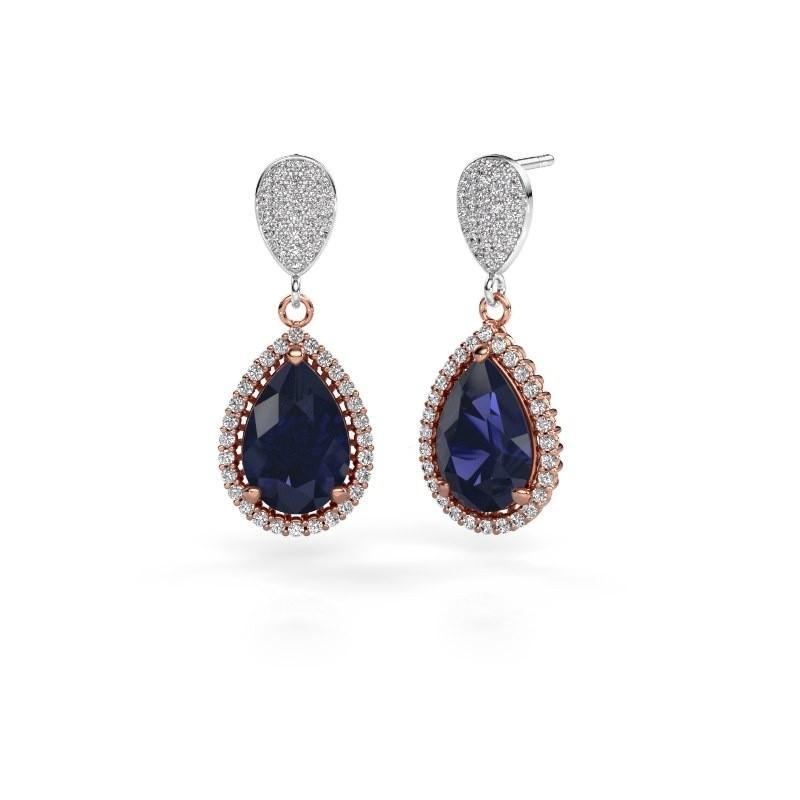 Drop earrings Cheree 2 585 rose gold sapphire 12x8 mm