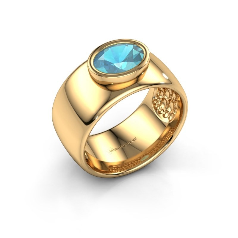 Bague Anouschka 585 or jaune topaze bleue 8x6 mm