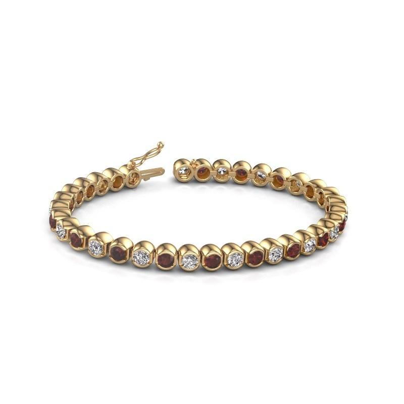 Tennis bracelet Bianca 375 gold garnet 4 mm