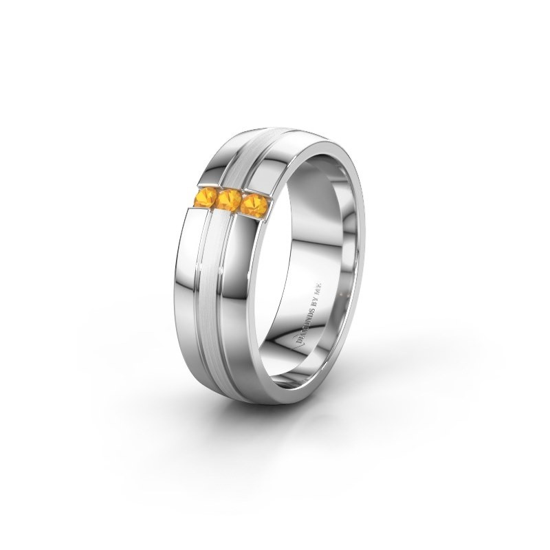 Wedding ring WH0426L26A 925 silver citrin ±6x1.7 mm