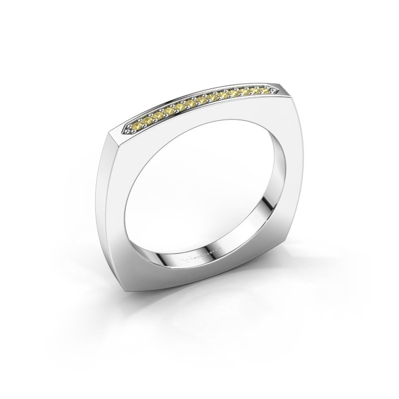 Stackable ring Ashley 950 platinum yellow sapphire 1 mm