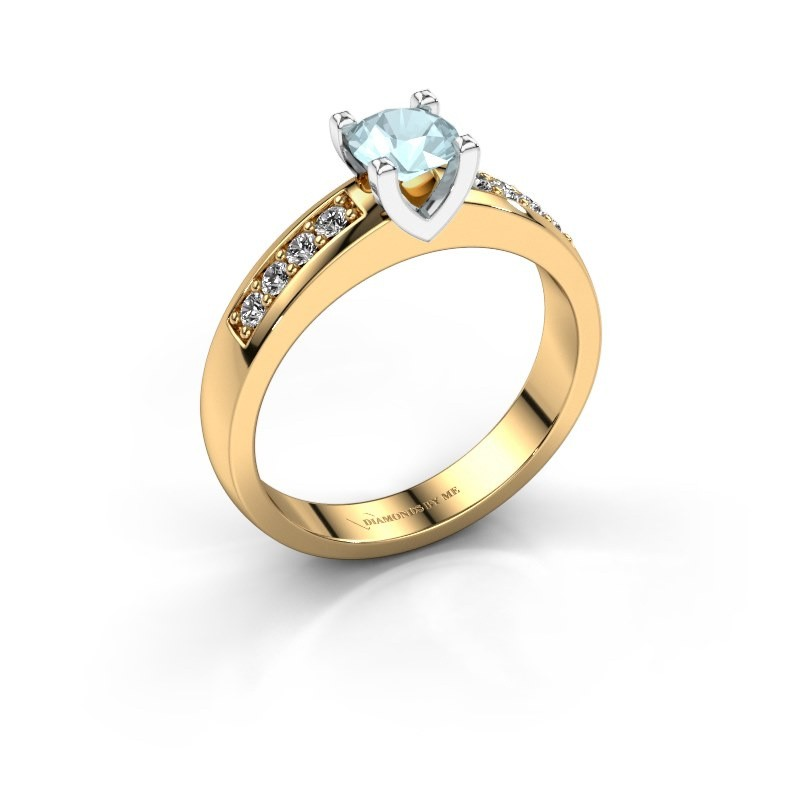 Verlovingsring Isabella 2 585 goud aquamarijn 5 mm