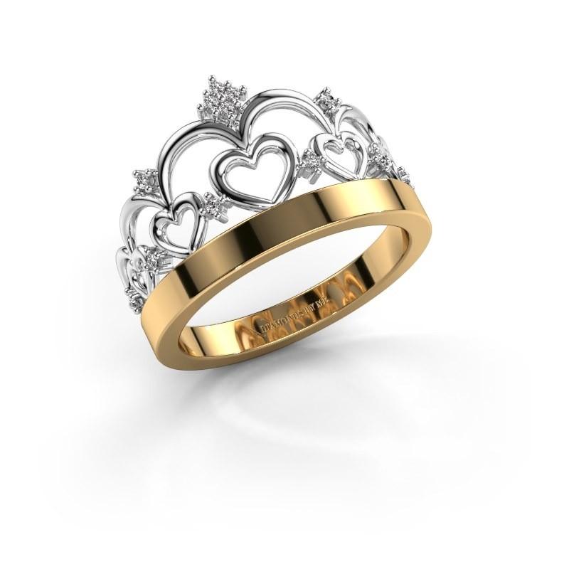 Ring Kroon 1 585 goud diamant 0.06 crt