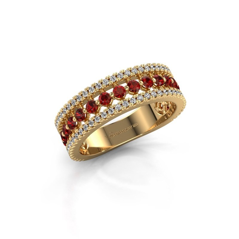 Verlovingsring Elizbeth 1 375 goud granaat 2 mm