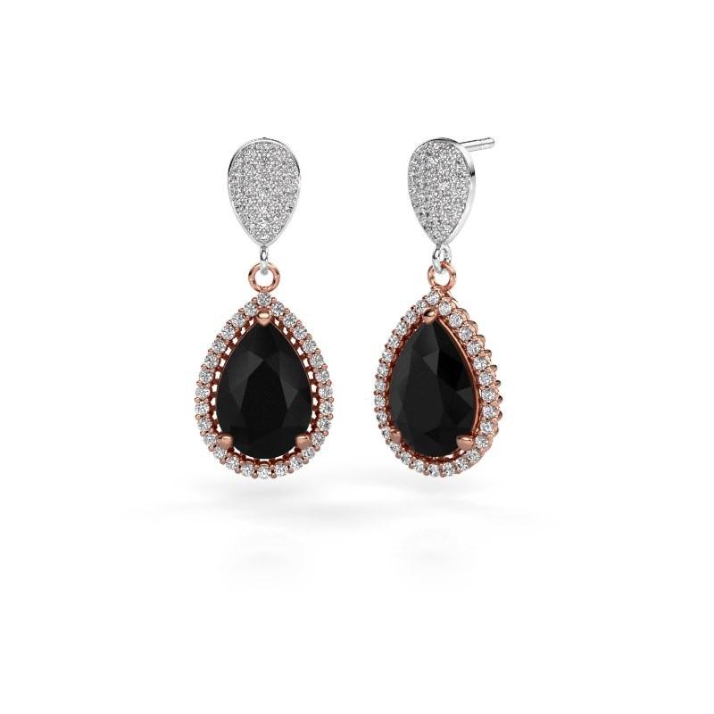 Oorhangers Tilly per 2 585 rosé goud zwarte diamant 7.89 crt