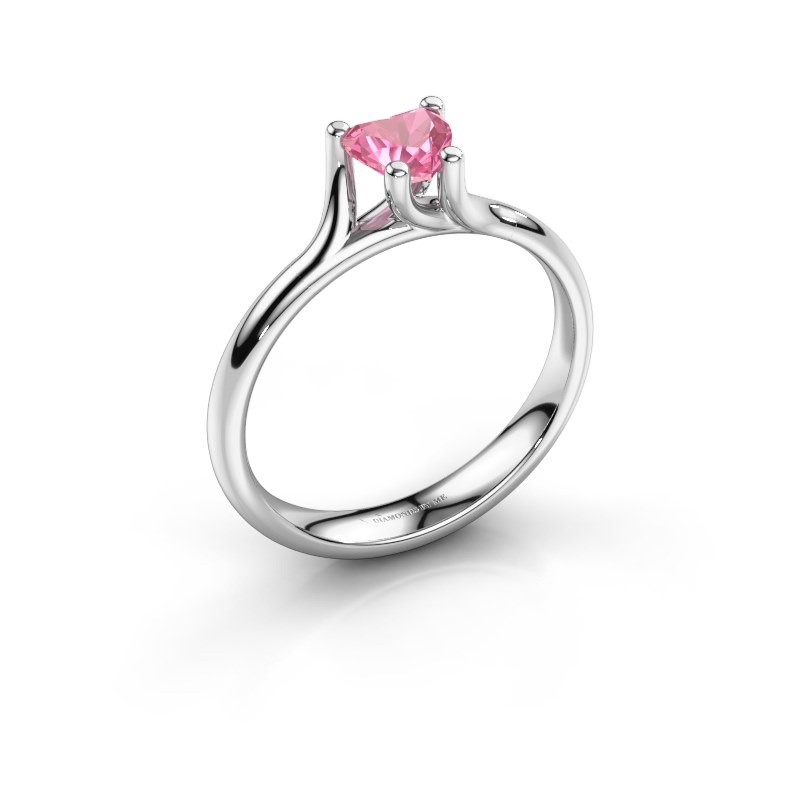 Engagement ring Dewi Heart 585 white gold pink sapphire 5 mm