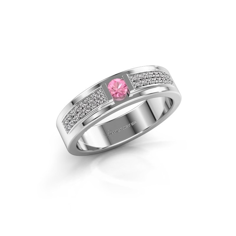 Ring Chanell 925 zilver roze saffier 3 mm