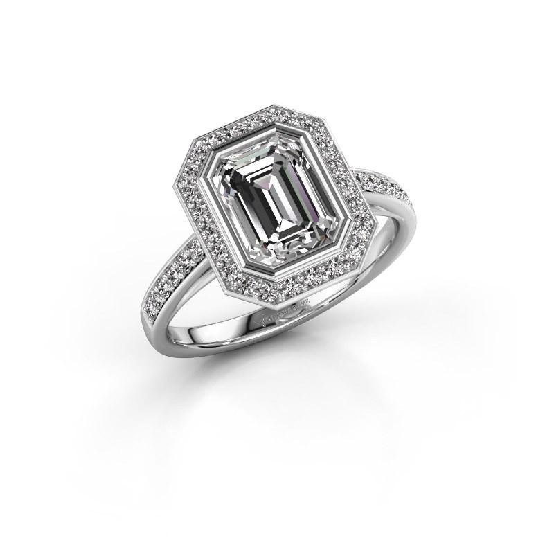 Bague de fiançailles Noud 2 EME 585 or blanc diamant 2.074 crt