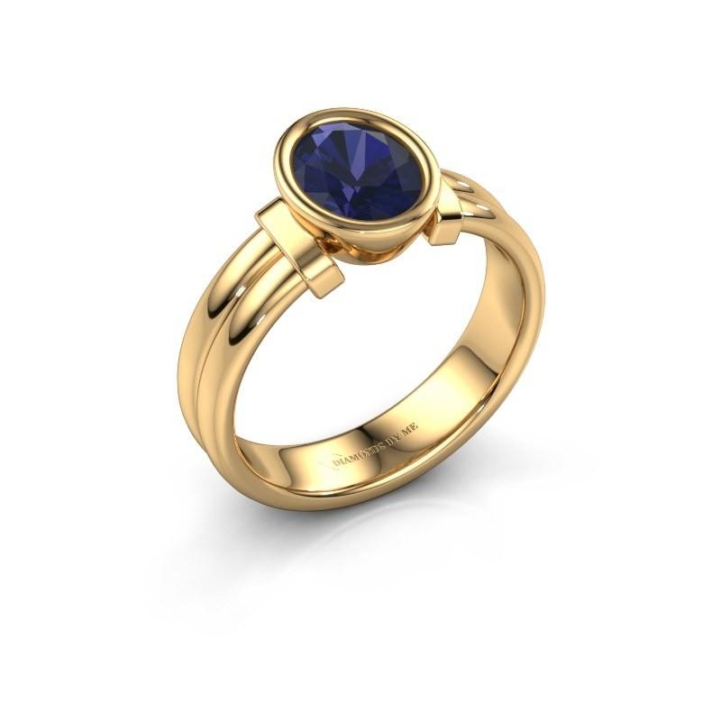 Ring Gerda 585 goud saffier 8x6 mm