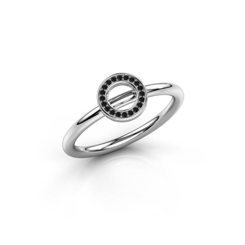 Ring Shape round small 950 platinum black diamond 0.06 crt
