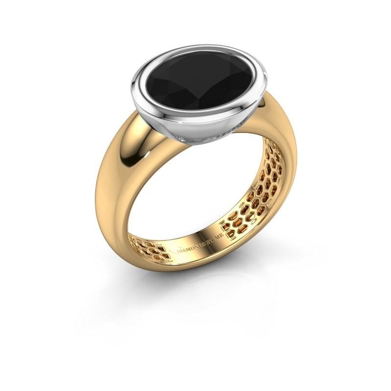 Bague Evelyne 585 or jaune diamant noir 3.24 crt