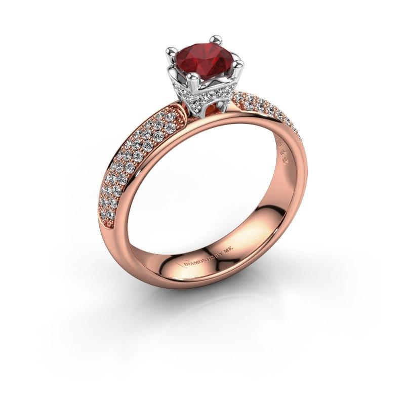 Aanzoeksring Ecrin 585 rosé goud robijn 5 mm