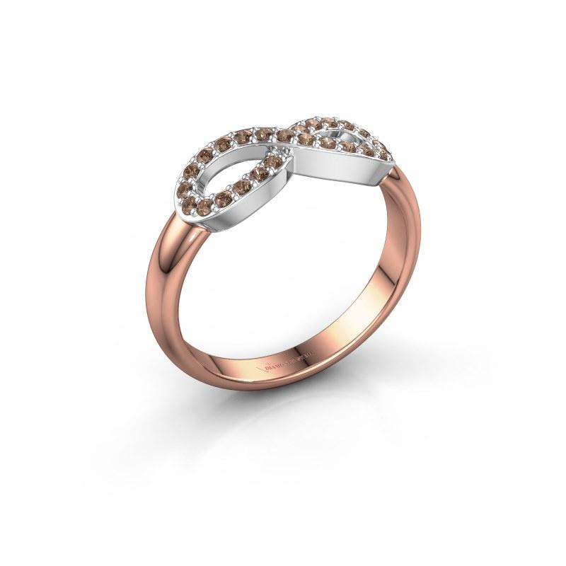 Ring Infinity 2 585 rosé goud bruine diamant 0.188 crt