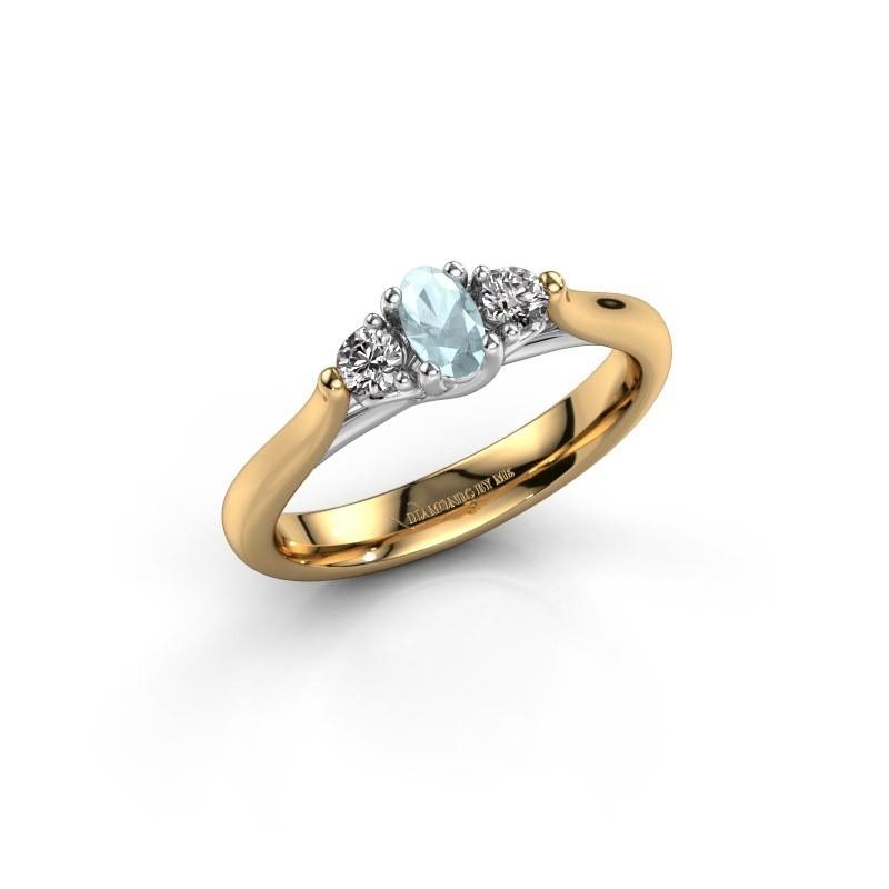 Verlovingsring Jente OVL 585 goud aquamarijn 5x3 mm