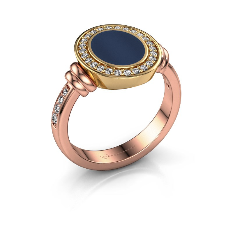 Signet ring Bailey 585 rose gold dark blue sardonyx 10x8 mm