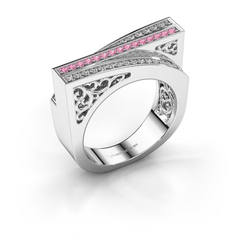Ring Magda 925 zilver roze saffier 1.2 mm