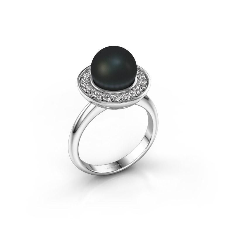 Ring Sarah 925 zilver zwarte parel 9 mm