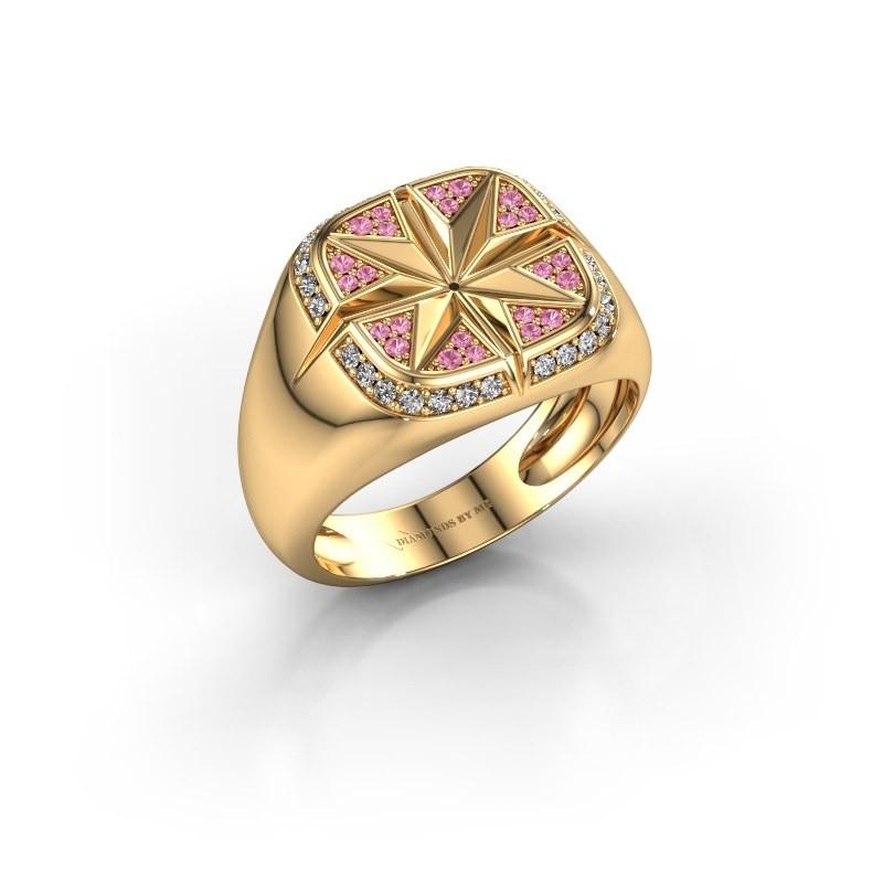 Heren ring Ravi 585 goud roze saffier 1 mm