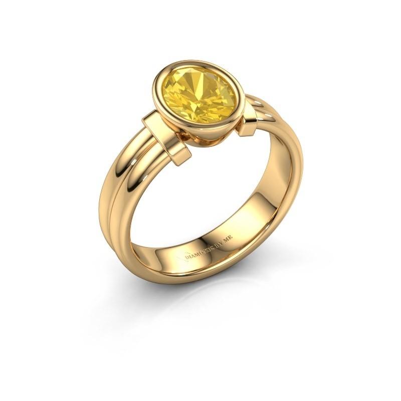 Ring Gerda 585 gold yellow sapphire 8x6 mm