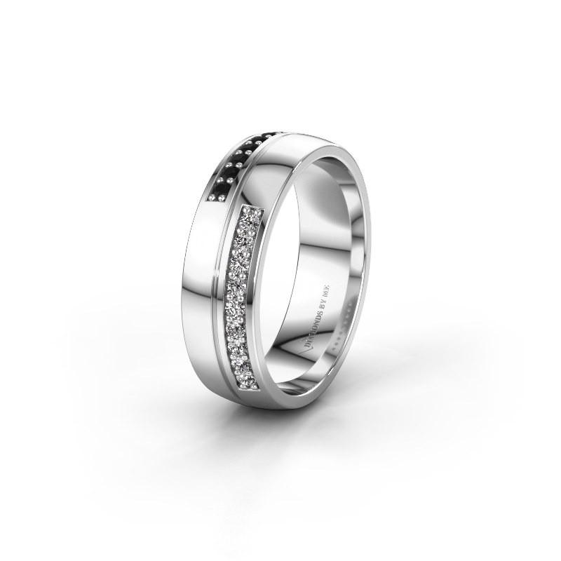 Wedding ring WH0213L26AP 585 white gold black diamond ±0.24x0.07 in