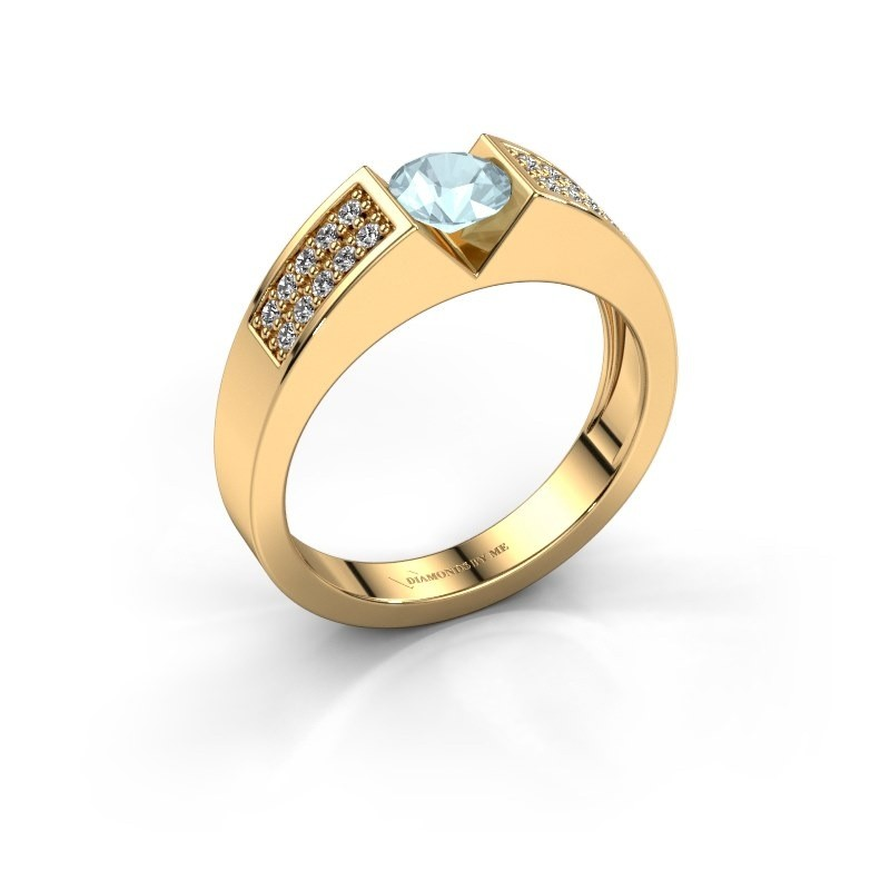 Verlovingsring Lizzy 3 375 goud aquamarijn 5 mm