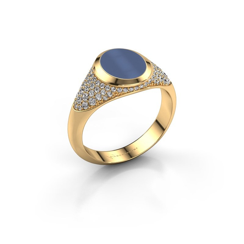 Signet ring Susana 585 gold blue sardonyx 10x8 mm