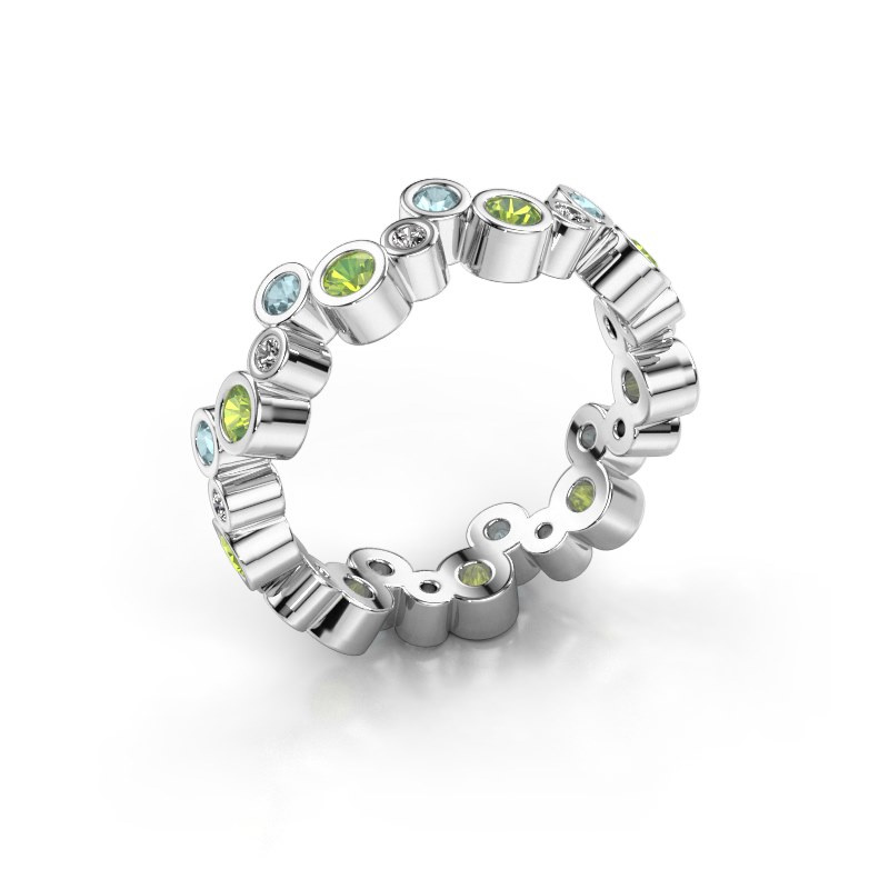 Ring Tessa 585 witgoud peridoot 2.5 mm