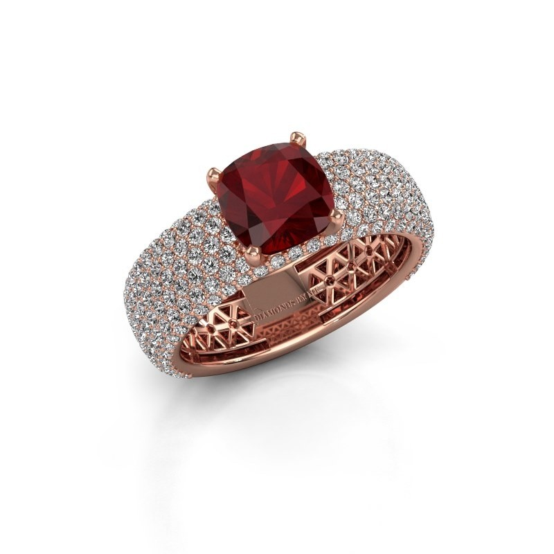 Engagement ring Darcy 375 rose gold ruby 7 mm