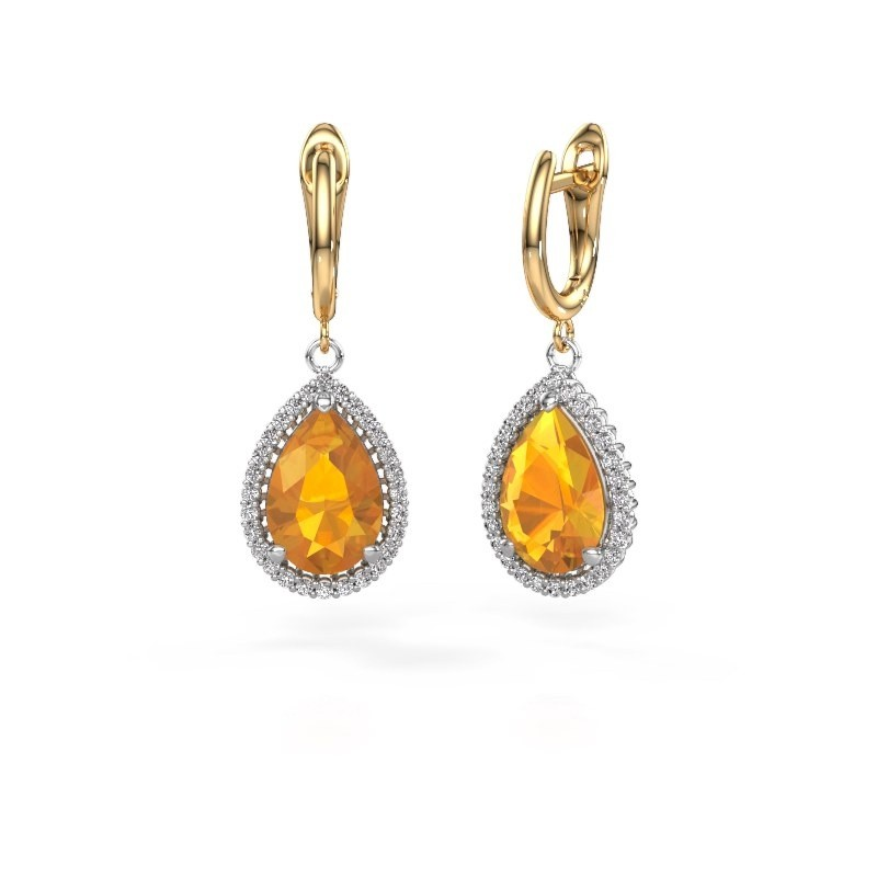 Drop earrings Hana 1 585 white gold citrin 12x8 mm