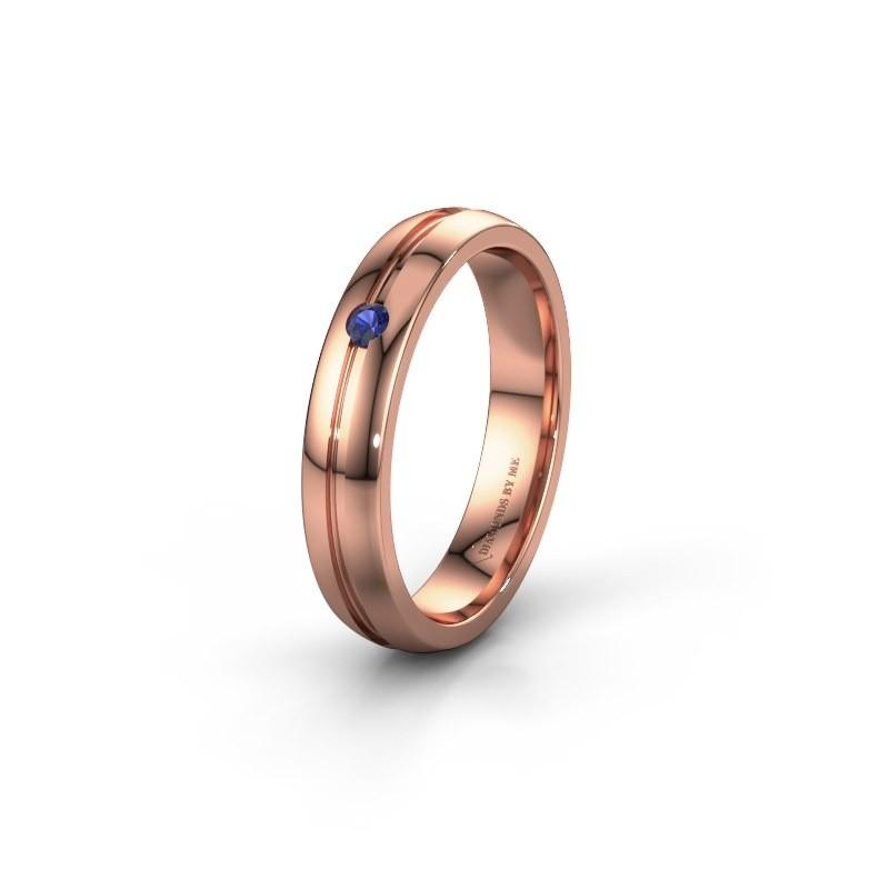 Trouwring WH0424L24A 585 rosé goud saffier ±4x1.7 mm