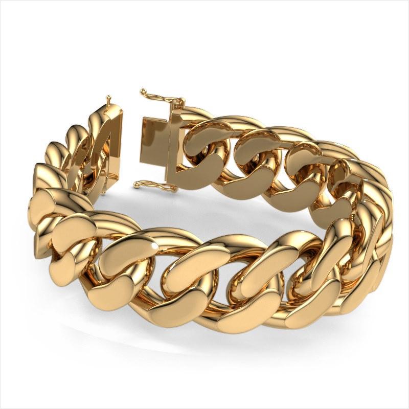 Cuban link armband ±23 mm 585 goud