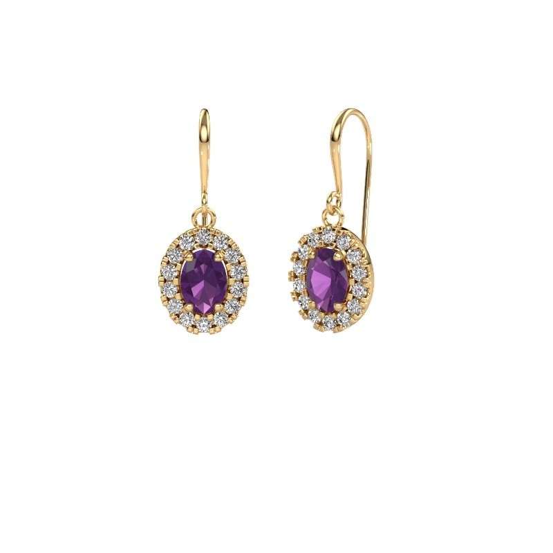 Drop earrings Jorinda 1 585 gold amethyst 7x5 mm