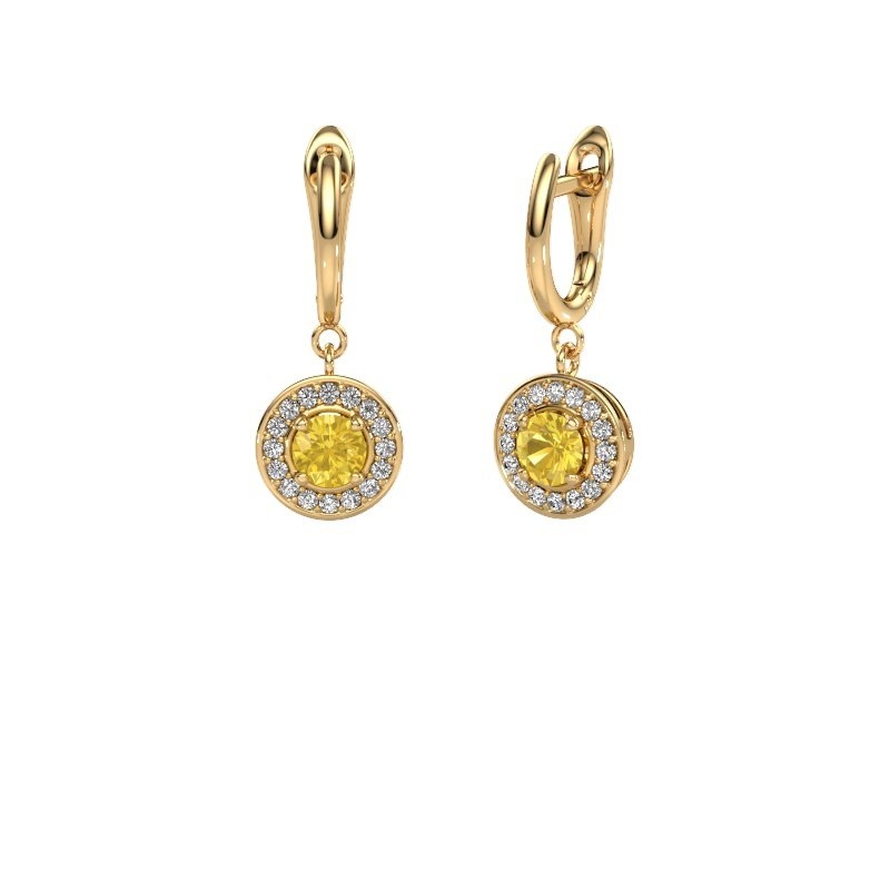 Drop earrings Ninette 1 585 gold yellow sapphire 5 mm