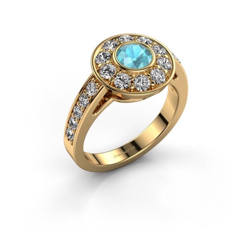 Verlovingsring Raven 2 375 goud blauw topaas 5 mm