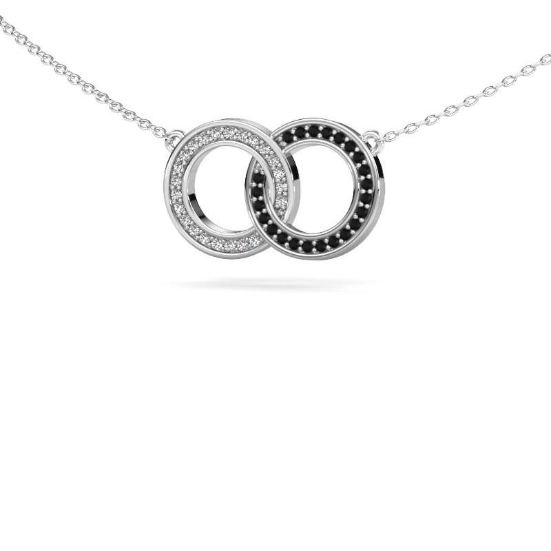 Ketting Circles 1 585 witgoud zwarte diamant 0.253 crt