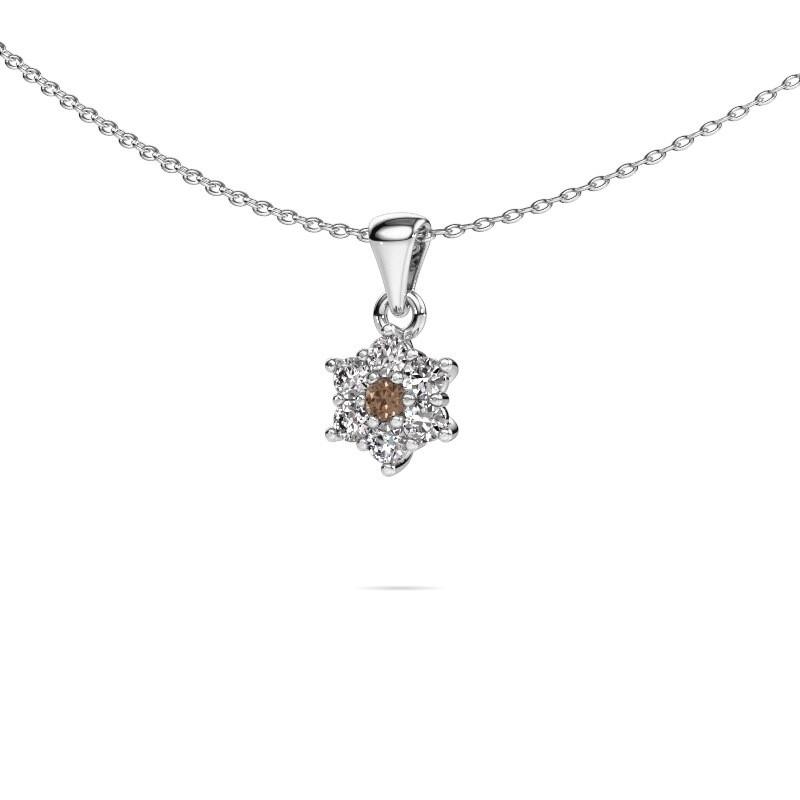 Ketting Chantal 585 witgoud bruine diamant 0.385 crt
