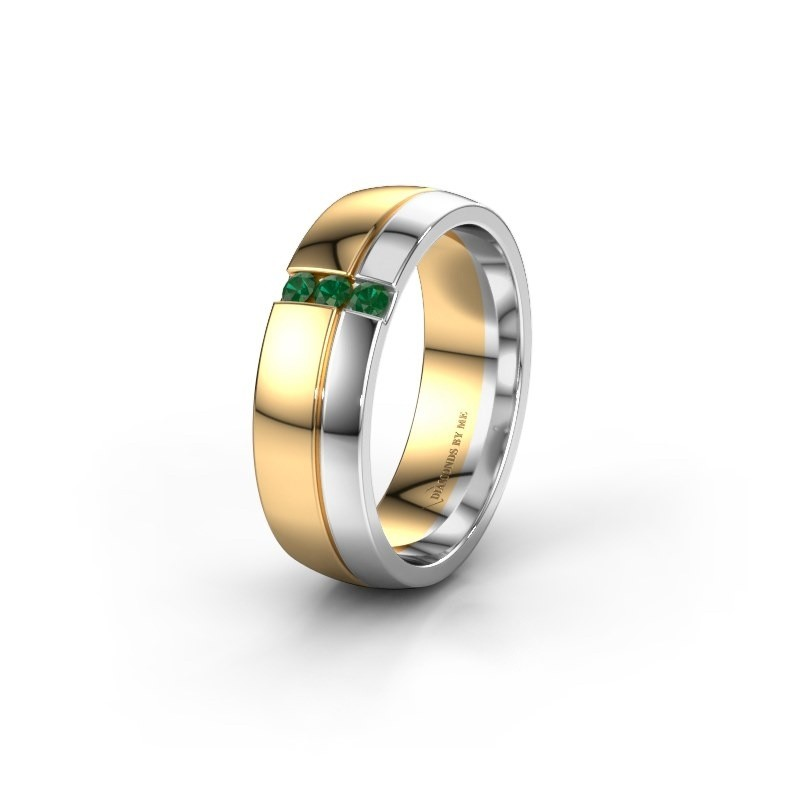 Wedding ring WH0223L56A 585 gold emerald ±6x1.7 mm