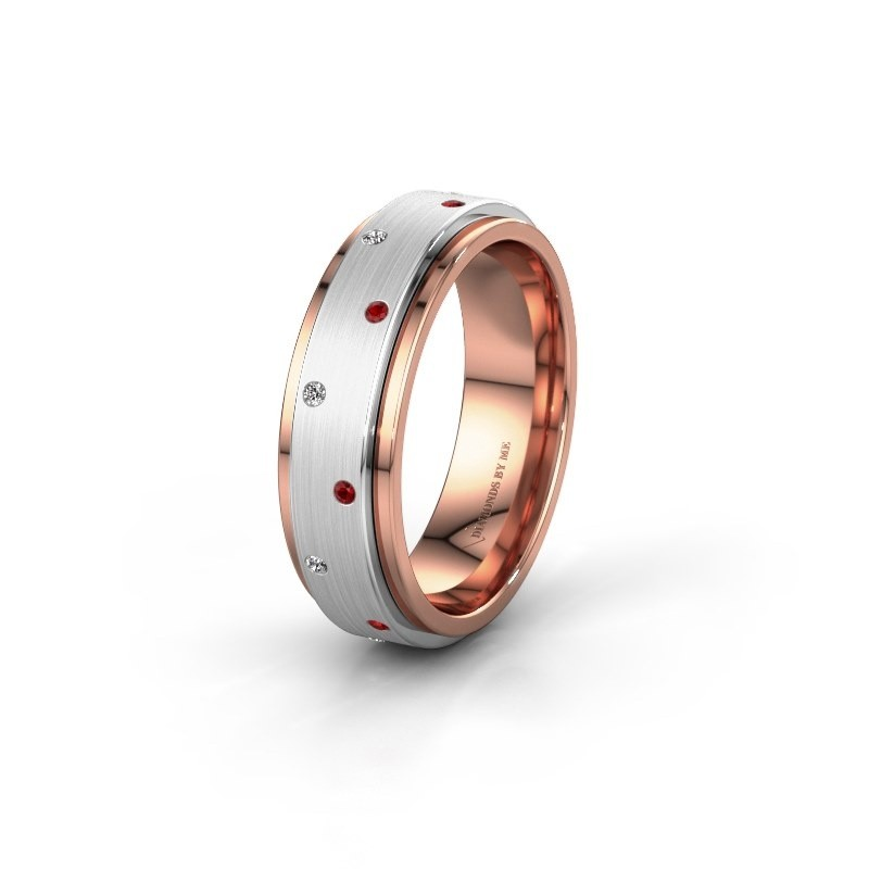 Trouwring WH2134L 585 rosé goud robijn ±6x2.2 mm