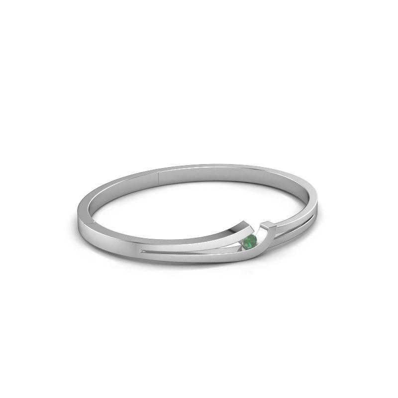 Slavenarmband Yentl 585 witgoud smaragd 3.7 mm