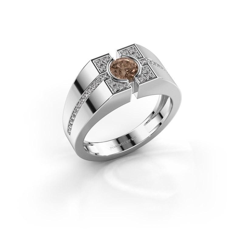 Men's ring Thijmen 375 white gold brown diamond 0.755 crt
