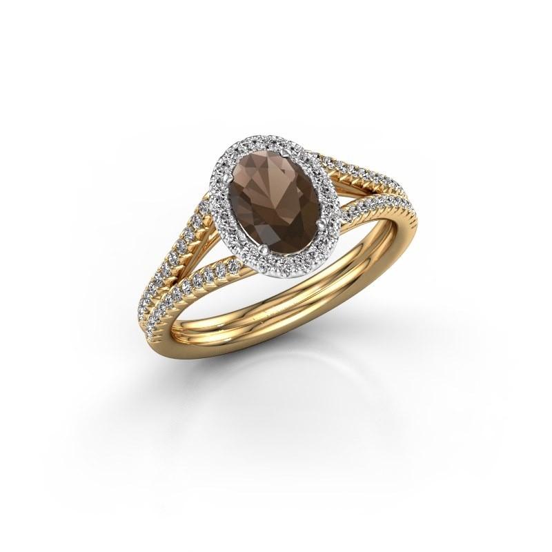 Engagement ring Rachele 2 585 gold smokey quartz 7x5 mm