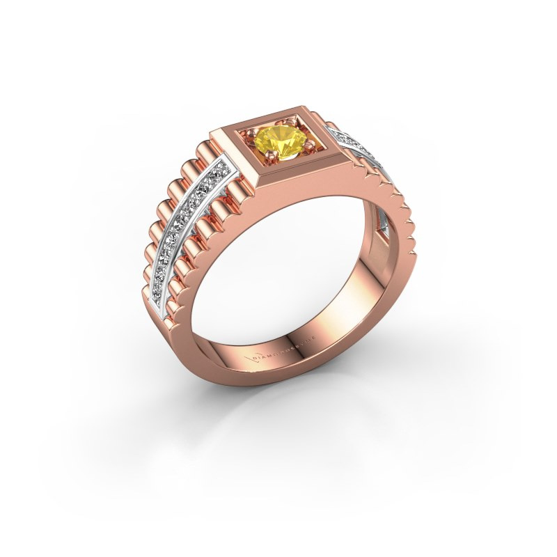 Men's ring Maikel 585 rose gold yellow sapphire 4.2 mm