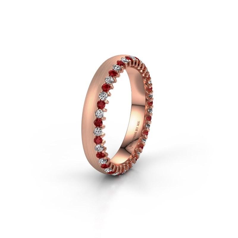 Wedding ring WH2138L24B 375 rose gold ruby ±4x2 mm